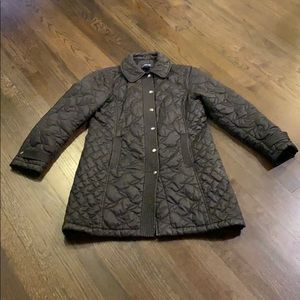 Lands End Black Packable Coat Quilted Small S EUC